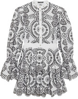 Alexander McQueen Tiered Broderie Anglaise Cotton Mini Dress - White
