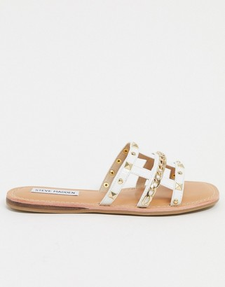 Steve Madden Harp stud and chain detail flat mule sandals in white