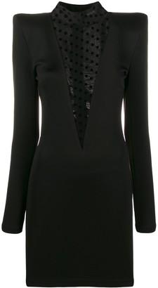 Balmain Exaggerated Shoulder Polka Dot Detail Dress