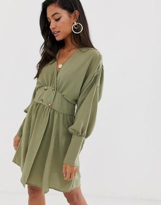 ASOS DESIGN wrap mini dress with faux tortoiseshell buttons