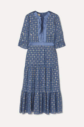 Temperley London Suki Tiered Satin-trimmed Metallic Fil Coupé Chiffon Dress - Blue