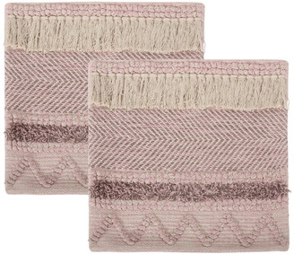 Gdfstudio Arbuton Hand-Loomed Boho Pillow Cover, Pink and Natural, Set of 2