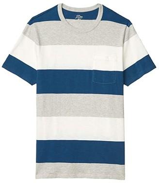 J.Crew Slub Jersey Dennis Stripe Short Sleeve Pocket Tee (Heather Grey Dennis Stripe) Men's Clothing