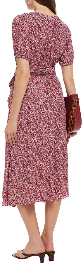 Thumbnail for your product : BA&SH Noemi Printed Crepon Midi Wrap Dress