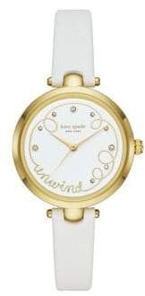 Kate Spade Holland Stainless Steel, Crystal & Leather-Strap 3-Hand Watch