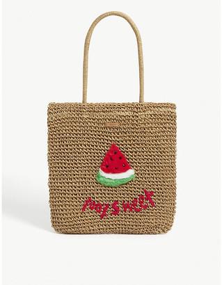 Kids Bongo paper-straw watermelon tote bag