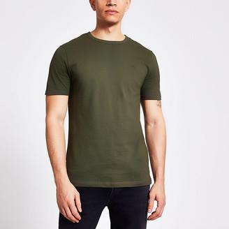 River Island Maison Riviera khaki slim fit T-shirt