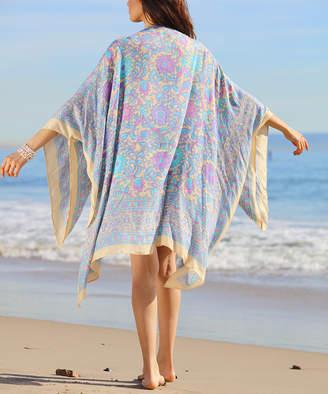BEIGE Ananda's Collection Women's Kimono Cardigans  & Blue Floral Kimono - Women