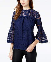 Kensie Floral-Lace Illusion Top