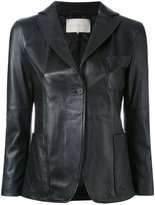 L'Autre Chose leather blazer - women - Cotton/Leather - 40