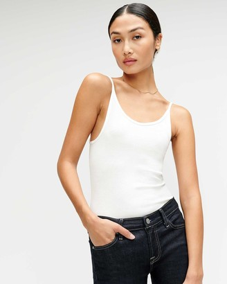 7 For All Mankind Baby Rib Racerback Tank in Optic White