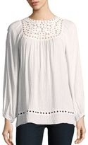 Max Studio Embroidered Long Sleeve Top