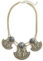 Sole Society Antiqued Gold Tone Stone Statement Necklace