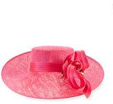 Philip Treacy Asymmetric Upturn Straw Hat, Bright Pink