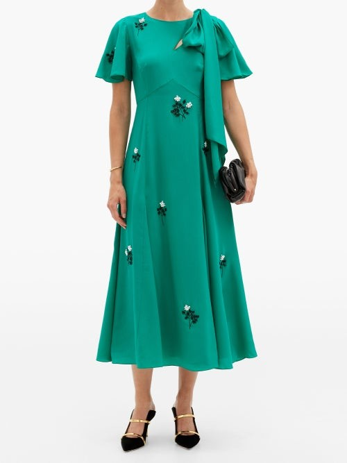 Thumbnail for your product : Erdem Kirstie Floral-beaded Bias-cut Silk Dress - Green