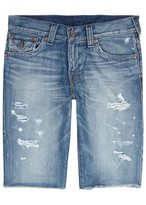 True Religion Ricky Blue Distressed Denim Shorts
