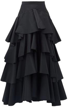 Giambattista Valli Tiered Ruffled-taffeta Maxi Skirt - Black