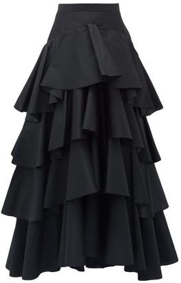 Giambattista Valli Tiered Ruffled-taffeta Maxi Skirt - Womens - Black