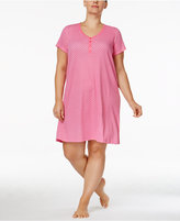 Charter Club Plus Size Henley-Style Printed Sleepshirt, Only at Macy's