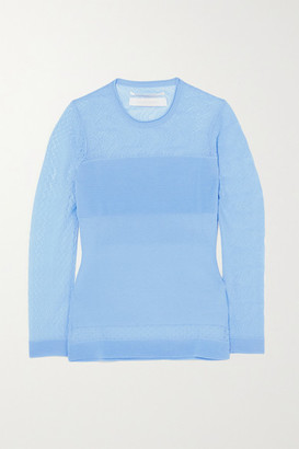 Roland Mouret Ellis Pointelle And Ribbed-knit Top - Light blue
