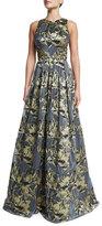 Theia Sleeveless Metallic Floral Ball Gown
