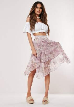 Missguided Purple Floral Shimmer Frill Hem Midi Skirt