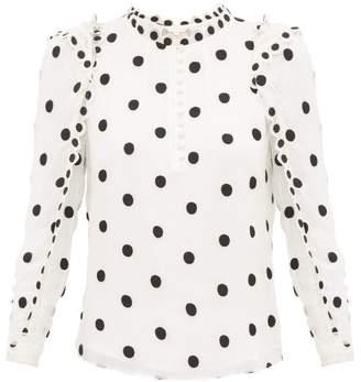 Rebecca Taylor Ruffled Polka-dot Embroidered-silk Blouse - Womens - Ivory Multi