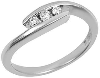 Ivy Gems Sterling Silver Three Stone Tension Set Cubic Zirconia Wave Ring - Size V