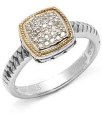 Effy Diamond in 18K Yellow Gold & Sterling Silver Square Ring