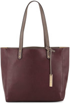 Neiman Marcus Textured Leather Organizer Tote Bag, Wine/Grey