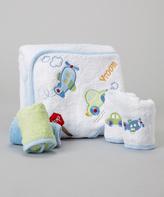 SpaSilk Blue Airplane & Car Terry Hooded Towel Set