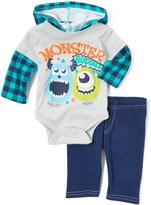 Children's Apparel Network Silver 'Monster Buddies' Bodysuit & Pants - Infant