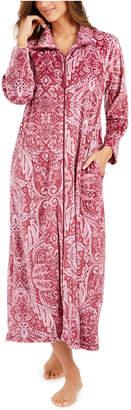 Miss Elaine Women Velvet Fleece Long Zipper Robe