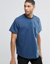 Asos Woven T-Shirt In Navy With Contrast Rib