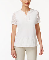 Alfred Dunner Blue Lagoon Mesh-Sleeve Beaded Top
