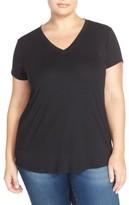 Sejour Plus Size Women's Short Sleeve V-Neck Tee