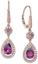Macy's Rhodolite Garnet (1-1/2 ct. t.w.) and Diamond (1/3 ct. t.w.) Drop Earrings in 14k Rose Gold