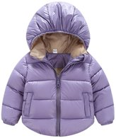 Happy Cherry Baby Toddler Cotton Padded Warm Hooded Down Jacket Thick Outfit Soft Puffer Zip Outwear Clothing for 12-18M