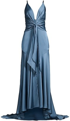 Fame & Partners Lake Draped Satin Gown