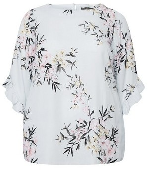 Dorothy Perkins Womens Billie & Blossom Curve Grey Ruffle Floral Print Top, Grey