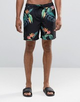 Asos Swim Shorts With Tropical Floral Print In Mid Length