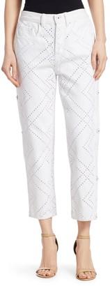 Jonathan Simkhai Diamond Eyelet Embroidered Jeans