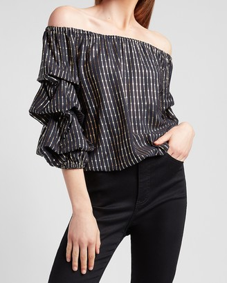 Express Metallic Striped Off The Shoulder Top