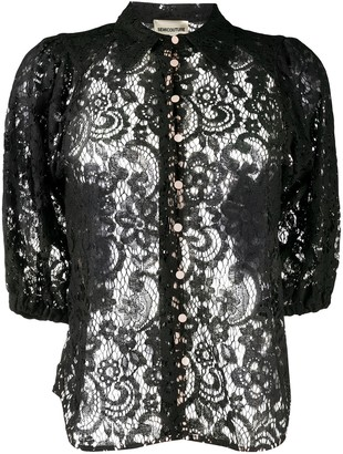 Semi-Couture Sheer Lace Shirt