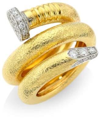 David Webb Tool Chest 18K Yellow Gold & Diamond Hammered Nail Ring