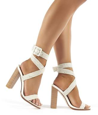 Public Desire Rapunzel Woven Wrap Around Strap Block Heels