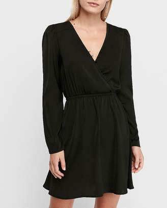Express Satin Button Front Wrap Fit And Flare Dress