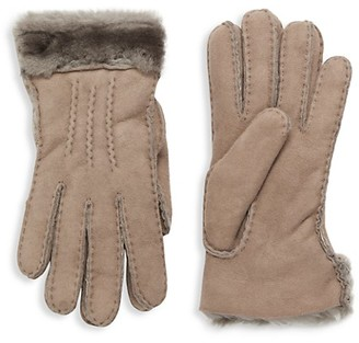 UGG Shearling-Cuff Sheepskin Gloves
