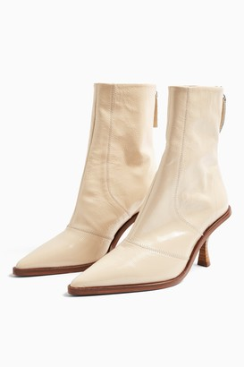 Topshop MADISON Cream Pointed Leather Boots