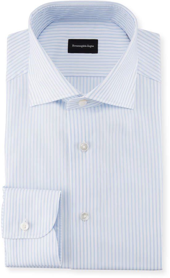 Ermenegildo Zegna Striped Barrel-Cuff Dress Shirt, White/Light Blue